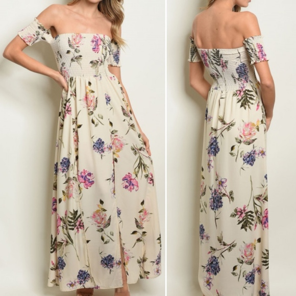 827caa6bef10 Girly   Flirty CREAM   FLORAL MAXI DRESS BOHO